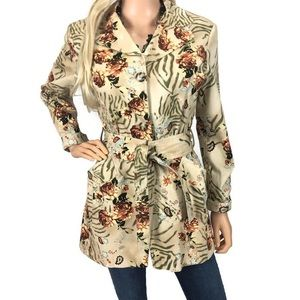 LL New York Rare Floral Print Trench Coat Jacket